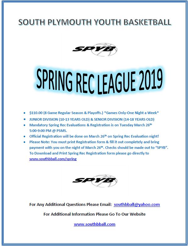 Spring Rec League for wordpress
