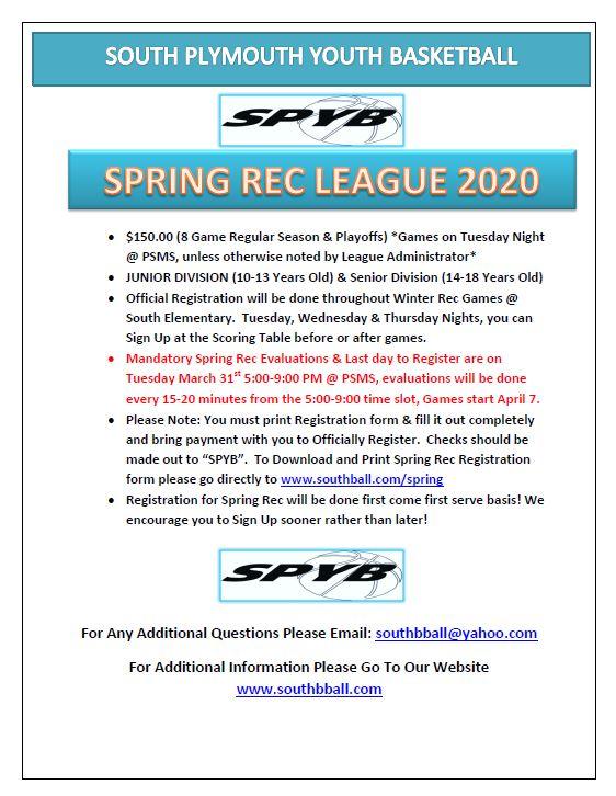 Spring Rec Flyer 2020 image