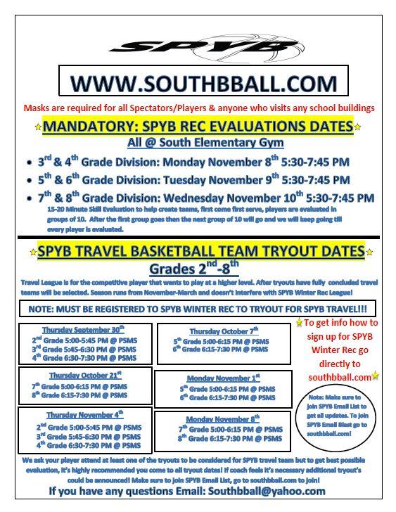 SPYB Winter Travel & eval dates